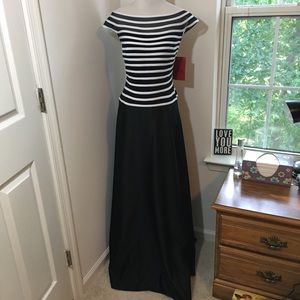 JS Collections B&W Off the Shoulder Formal Dress